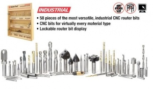 Amana Tool AMS-CNC-58 CNC Master Router Bit Collection Includes 58 SKU's and Plywood Veener Cabinet