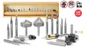 18-Pc CNC Signmaking Advanced Router Bit Collection, 1/4 Inch Shank