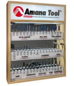 Amana Tool AMS-CNC-60 CNC Master Router Bit Collection Includes 57 SKU's and LED Illuminated, Mirrored Interior and Solid Wood Display