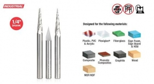 Amana Tool AMS-107 CNC Ultimate Solid Carbide 2D/3D Carving/Engraving 3-Pc Pack - Uncoated