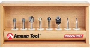 Amana Tool AMS-151 8-Pc V-Groove for Double Edge Folding Aluminum Composite Material (ACM) Panels Router Bit Collection, 1/4 Inch Shank