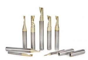 Amana Tool AMS-160-Z 8-Pc CNC Aluminum Cutting SC Spiral 'O' Flute ZrN Coated Router Bit Collection