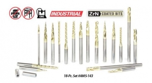 Amana Tool AMS-143 18-Pc CNC 2D and 3D Carving Ball Nose & Flat Bottom ZrN Coated Solid Carbide Router Bit Collection